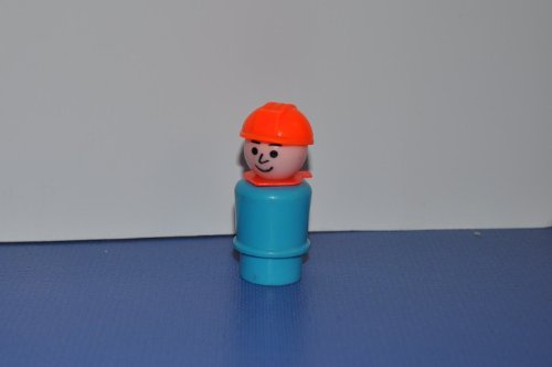 (Vintage Little People Construction Worker (Orange Helmet & Blue Plastic Base) Replacement Figure - Fisher Price Zoo Doll Circus Ark Toy Pet Shop)