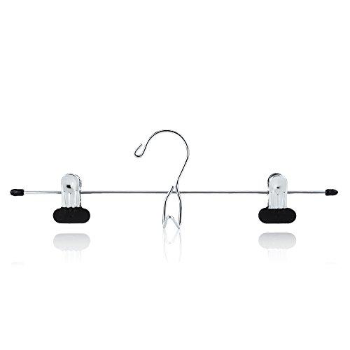 HANGERWORLD 12 Chrome 13.4inch Metal Pants Skirt Adjustable Black Non Slip Clip Coat Clothes Garment Hangers Accessory Hook ()