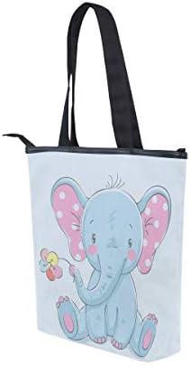 BKEOY Grand sac à main à bandoulière Motif éléphant