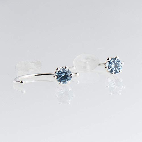 Aquamarine Hoop Earring - Open Hoop Hugger Silver Earrings with 3mm Small Aquamarine Stone SS-D9-6PR-20GA-3MM-Aquamarine