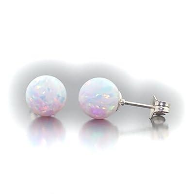 Discount Trustmark 14k White Gold 8mm Fiery White Created Opal Ball Stud Post Earrings, Lorraine free shipping