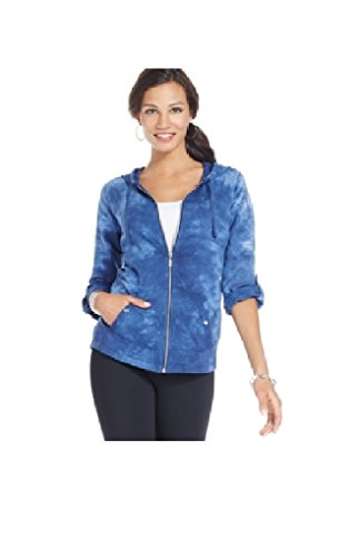 Style & co. Sport Tie-Dyed Zip Hoodie, M, Blue Combo