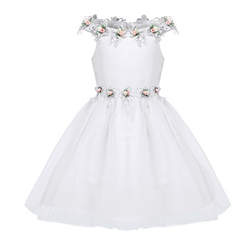 iEFiEL Baby Girl Off The Shoulder Dress Flower Party Wedding Dress Christening Baptism Gown Birthday Pageant White 12-18 Months