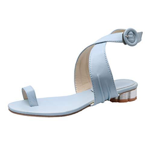 Nadition Ladies Summer Roman SandalsWomen Low Heel Clip Toe Sandals Breathable Hollow Cross Buckle Shoes Blue