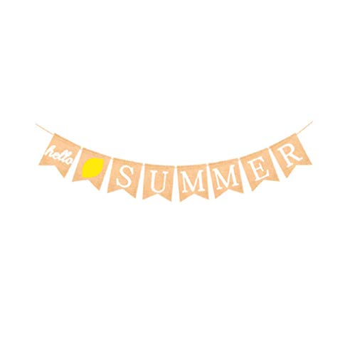 (Hello Summer Banner Burlap Bunting Banner Garlands Flags for Summer Party Supplies)