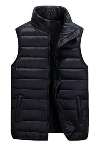 Zipper Ultra Vest Jacket Packable Men's Down Black Gocgt Lightweight Sleeveless BIqAWPw