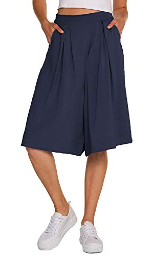 Chartou Woman's Casual Loose Fit Stretched Waist Knee Length Wide Leg Culottes Shorts (Medium, Navy Blue)