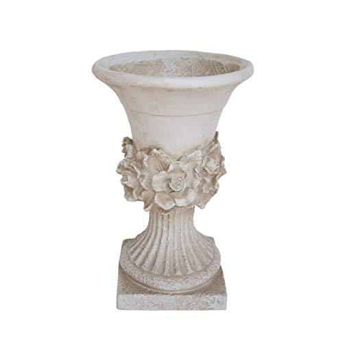 Great Deal Furniture Michaelia Chalice Garden Urn Planter, Roman, Botanical, Antique White Lightweight Concrete (Garden Planters Stone)