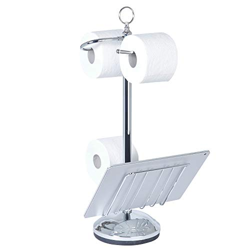 Better Living Products 54542 Toilet Valet Free Standing Toilet Tissue Holder and Dispenser, Chrome