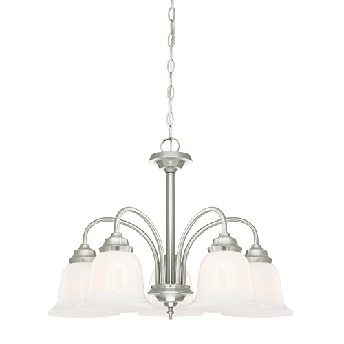 Westinghouse Lighting 6300100 Harwell Five-Light Indoor Chandelier, Brushed Nickel Finish with White Opal Glass,