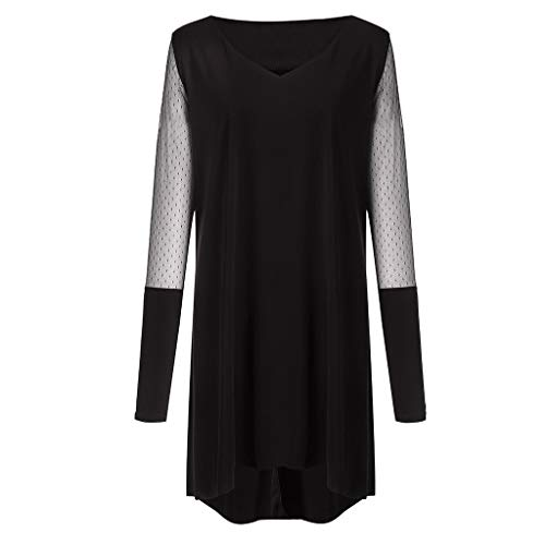 Plus Size Women Long Sleeve Baggy Midi Dress Ladies Party V Neck Lace Tunic Dress Top 2XL-6XL (Black, XXXXXL) by Unknown (Image #5)