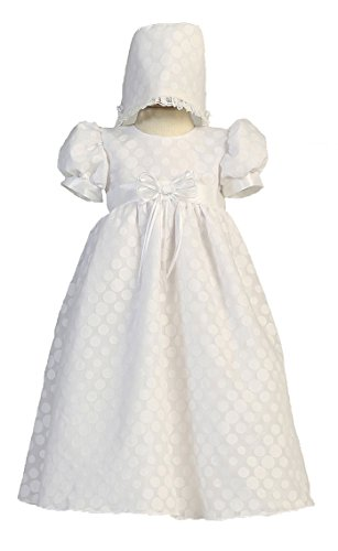 Long White Poly Cotton Polka-dot Burnout Baby Girl Christening Baptism Special Occasion Newborn Dress Gown with Matching Hat - XS (0-3 Month, 0-8 lbs)