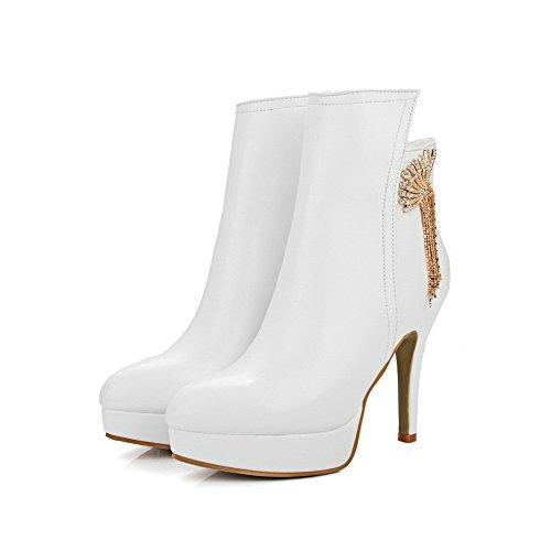 AllhqFashion Damen Hoher Absatz Weiches Material Reißverschluss Niedrig Spitze Stiefel, Weiß, 37