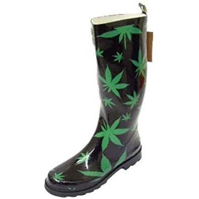 Unisex Black Green Cannabis Hemp Weed Wellington Wellies Rubber ...