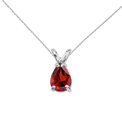 Sonia Jewels 14k White Gold Genuine Birthstone Pear Shaped Garnet Pendant (0.85 Cttw.) - Includes 14k Gold Cable Chain (Pear Shaped Garnet Pendant)
