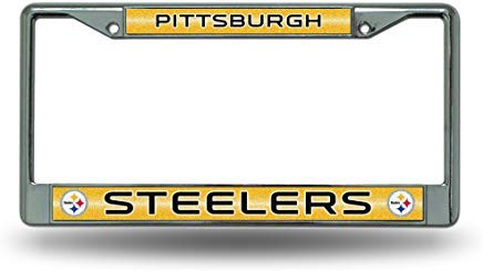 GRAETfpeoglsd NFL Pittsburgh Steelers Bling Chrome License Plate Frame with Glitter Accent