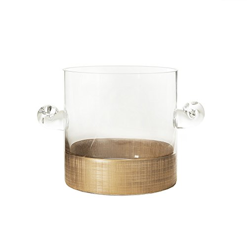 - Fitz and Floyd Linen Ice Bucket-Gold, Gold