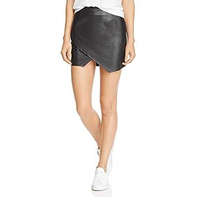 Splendid Womens Faux Leather Mini Wrap Skirt