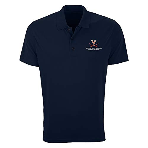 Elite Fan Shop UVA Virginia Cavaliers National Basketball Champions Polo Shirt 2019 Navy - L ()