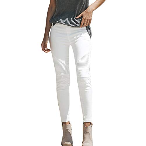 JJLIKER Women White Distressed Frayed Jeans Summer Fashion Pants Comfortable High Waist Trouser Slim Fit Leggings