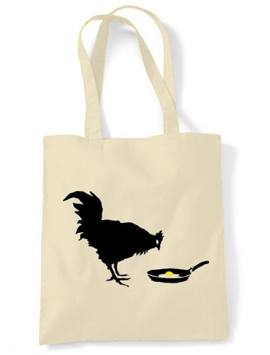 Tribal T-Shirt Women's Banksy Chicken and Egg Shoppinghoulder Bag One Size Off White (Chicken Egg Bag)