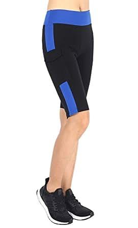 Neonysweets Womens Capri Tights Fitness Running Yoga Pants Leggings Black Blue S