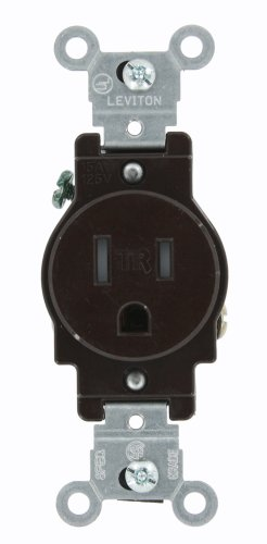 - Leviton T5015 15 Amp, 125 Volt, Narrow Body Single Receptacle, Straight Blade, Tamper Resistant, Commercial Grade, Grounding, Brown