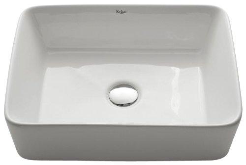 Kraus KCV-121-SN Ceramic Above counter Rectangular Bathroom Sink, 19.2 x 15.2 x 5.28 inches, Satin Nickel/White