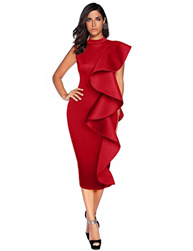 Meilun Womens Sleeveless Patchwork Ruffles Bodycon Vestidos Party Dresses Clubwear (M, Red) -