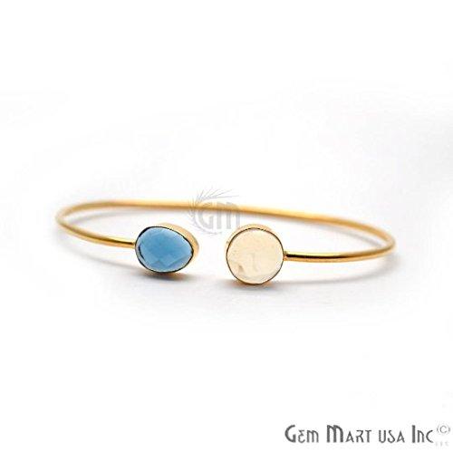Gold Bangle, Adjustable Bracelet, Bangle Bracelet, White Opal Bangle, Iolite Bangle, GemMartUSA (DSBA-19241)