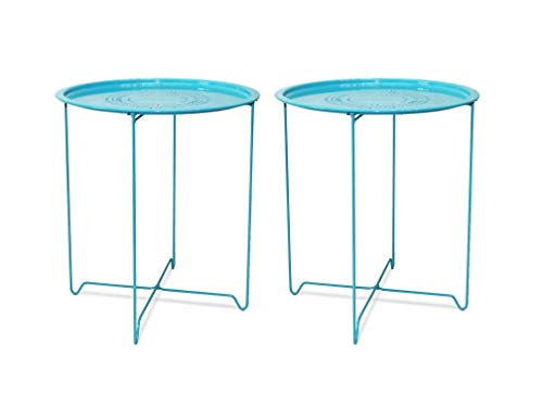 CAP LIVING 1 or Set of 2, Round 18-Inch/Square Metal End Table, Side Table, Colors Available in Capri Breeze (Blue) and Samba Red