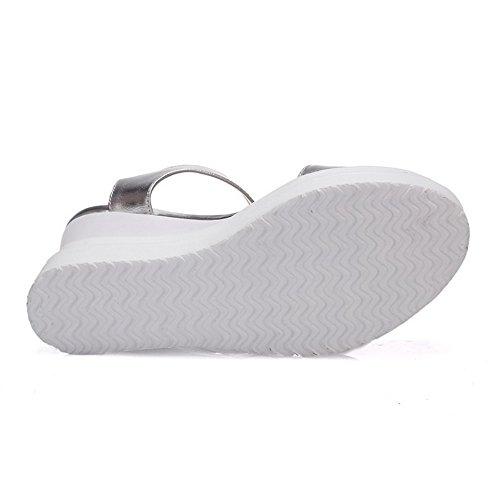 Abierta Plataforma Puntera Plateado Sandalia Velcro Sólido Mujeres Sintético VogueZone009 x7IqXYq