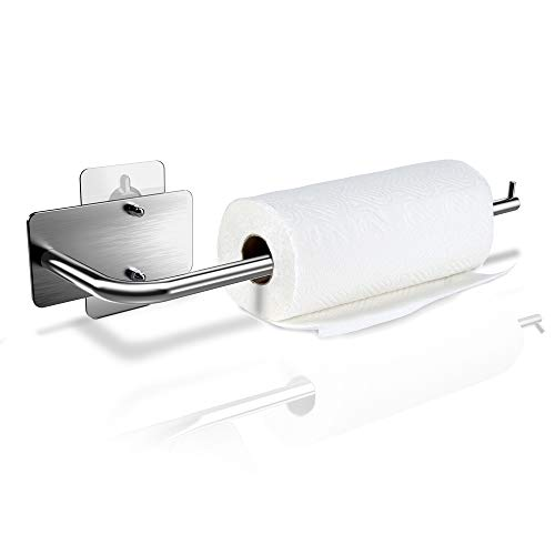 Paper Towel Holder - 12 inch, Under Cabinet & Wall Mount, with Both Adhesive and Screws, Brushed 304 Stainless Steel, for Home Kitchen Toilet, No Drilling