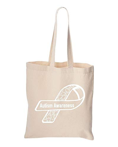 Natural Color Autism Awareness White Ribbon Reusable Tote Bag Puzzle Cotton Canvas Bag
