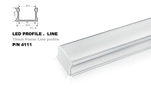 4111 U-shape 1 meter Aluminum Channel - LED Aluminum Extrusion for Flex/hard LED Strip Light White/milk Cover (100cm/39.37inch/3.28feet)