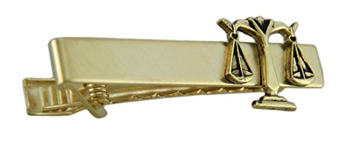 Zeckos Metal Mens Tie Clips Gold Plated Justice Scale Tie Bar Clip Law Lawyer Court Gold (Gold Plated Justice)