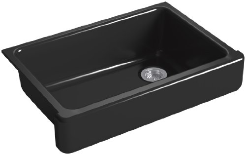 2in Depth Single Bowl Sink - KOHLER K-5826-7 Whitehaven Self-Trimming Under-Mount Single-Bowl Sink with Short Apron, Black
