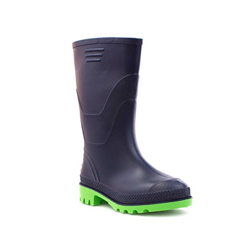 Kids Wellington (Zone Hearts Kids Wellington Boots In Navy and Green - Size 3 UK/4 Youth US - multicolour)