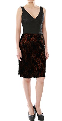Gown Bride Negro Cocktail V Macloth Of Formal Neck Brown Short Mother Lace Dress Women fwqSUqxP