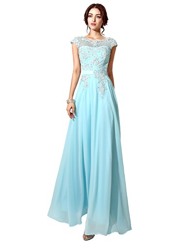 Abendkleider Clearbridal CSD181 Lange Applikation mit Ballkleider Lila Chiffon Abschusskleider Damen wppRf1X