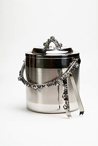 Wire Wrapped Stainless Steel Double Wall Ice Bucket 3.5 Liters with Matching Tongs
