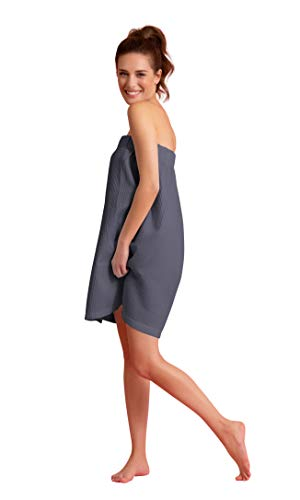 Soft Touch Linen Women Waffle Spa/Bath Wrap Soft Light Comfortable Adjustable Closure, Dries Fast (Dark Gray), Large/One Size