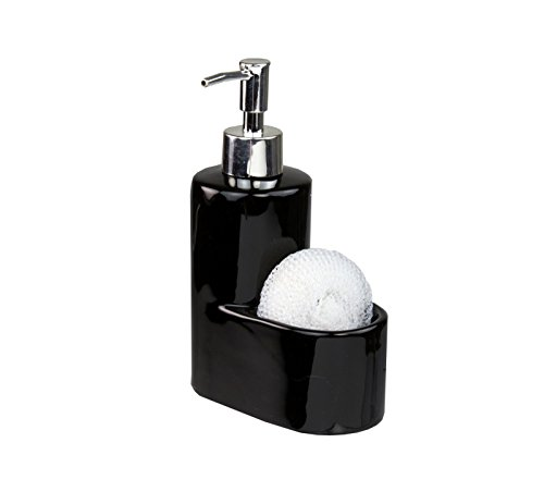 Heavy Duty Ceramic Soap Dispenser with Sponge Holder That Fit Perfectly In Any Home ()