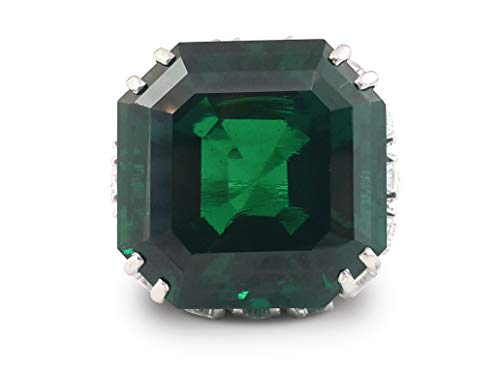 Adastra Jewelry 925 Sterling Silver 80 tcw Green Asscher Pear Halo Cocktail Ring for Women|Size 3 to 11 and half sizes