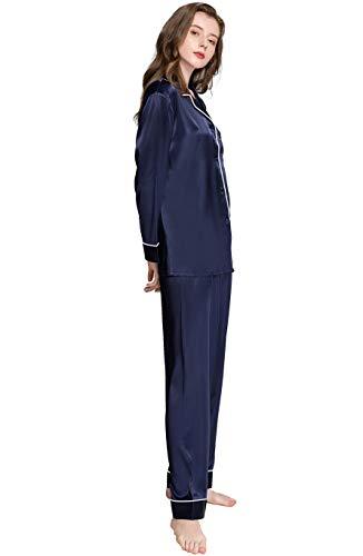 Womens Silk Satin Pajamas Set Sleepwear Loungewear Navyblue M