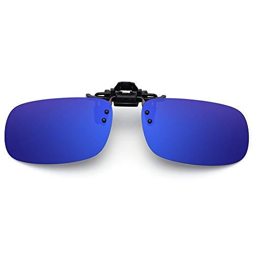 SUNINC Clip On Sunglasses Over Prescription Glasses Polarized Lens Flip Up Shades Driving Sunglasses for Men Women Deep Blue Lens Small Size