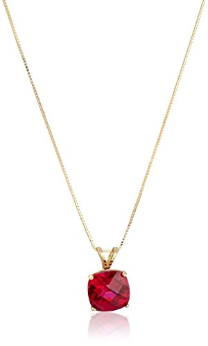14k Yellow Gold Cushion Checkerboard Created Ruby Pendant Necklace (8mm) ()