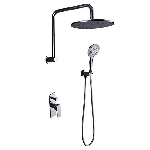 ZUKKI 10 Inch Bathroom Luxury Rain Mixer Shower Combo Set Wall Mounted Rainfall Shower Head System Polished Round Shower set Chrome (Rain Mixer Shower Combo 506 1001 2314-09A 305)
