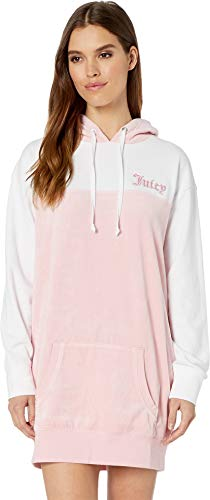 Juicy Couture Women's Juicy Gothic Velour & French Terry Mix Dress Dusty Pink/White Medium ()