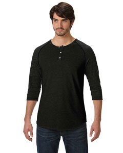 Alternative TEST Apparel The Eco Heather Raglan Henley,Extra Extra Large,Black